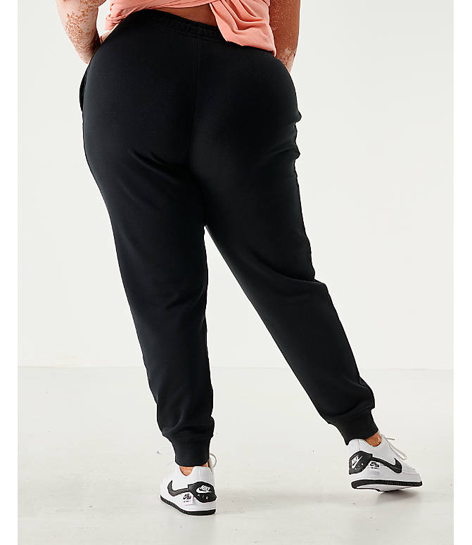 Back Left view of Women's Nike Sportswear Essential Jogger Pants - Plus Size in Black