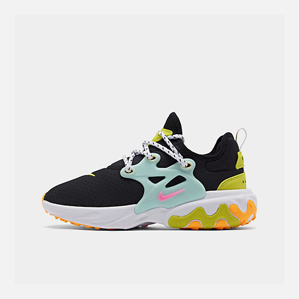 Right view of Women's Nike React Presto Running Shoes in Black/Psychic Pink/Teal Tint/Laser