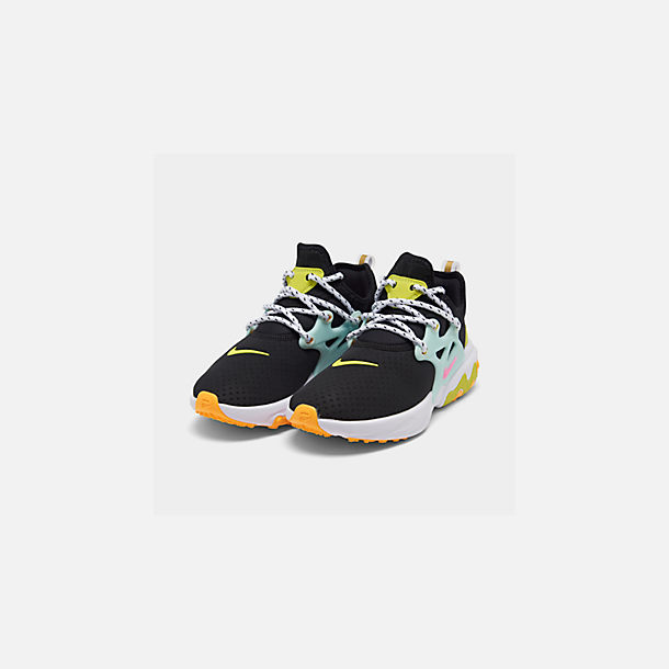 Three Quarter view of Women's Nike React Presto Running Shoes in Black/Psychic Pink/Teal Tint/Laser