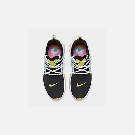 Back view of Women's Nike React Presto Running Shoes in Black/Psychic Pink/Teal Tint/Laser