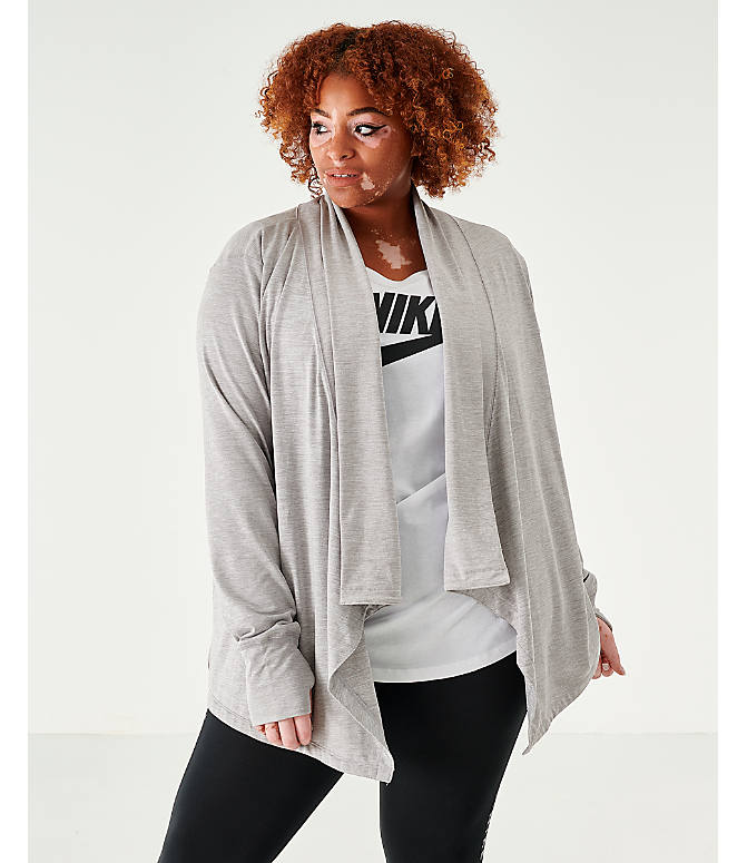 Front view of Women's Nike Yoga Long Sleeve Wrap Top - Plus Size in Grey Heather