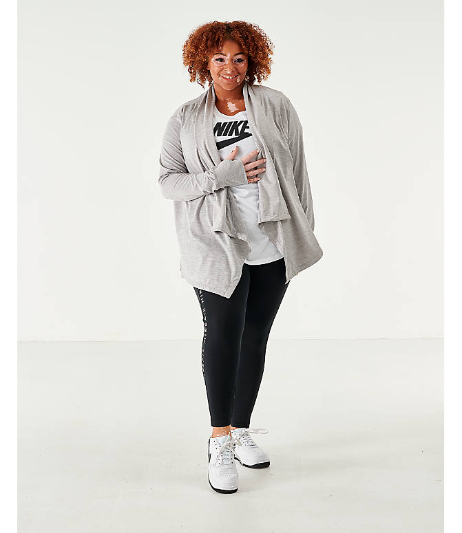 Front Three Quarter view of Women's Nike Yoga Long Sleeve Wrap Top - Plus Size in Grey Heather
