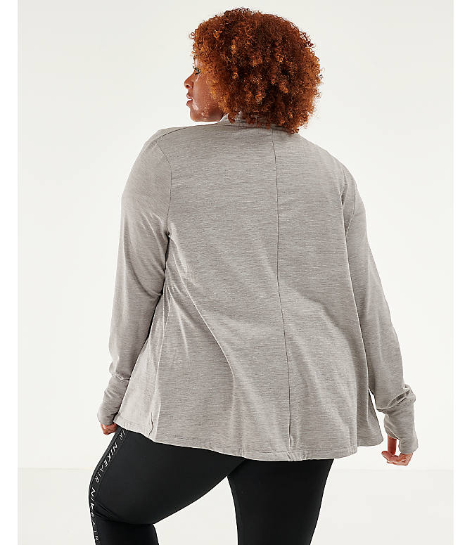 Back Left view of Women's Nike Yoga Long Sleeve Wrap Top - Plus Size in Grey Heather