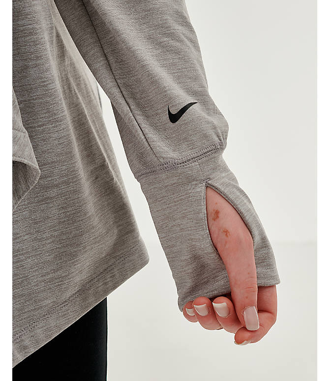 Back Right view of Women's Nike Yoga Long Sleeve Wrap Top - Plus Size in Grey Heather