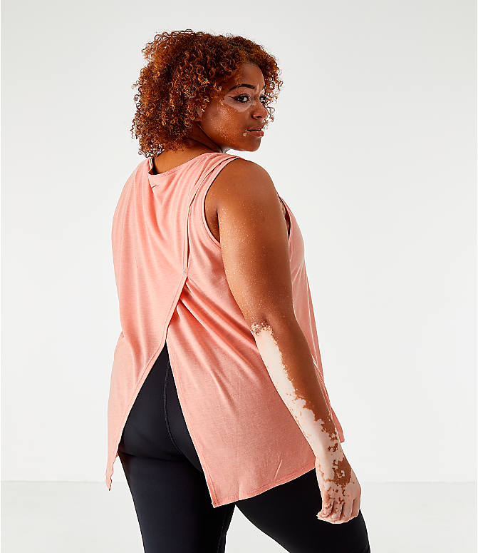 Back Left view of Women's Nike Yoga Graphic Tank - Plus Size in Pink Quartz