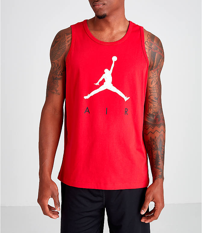 Front view of Men's Jordan Poolside Tank in Gym Red