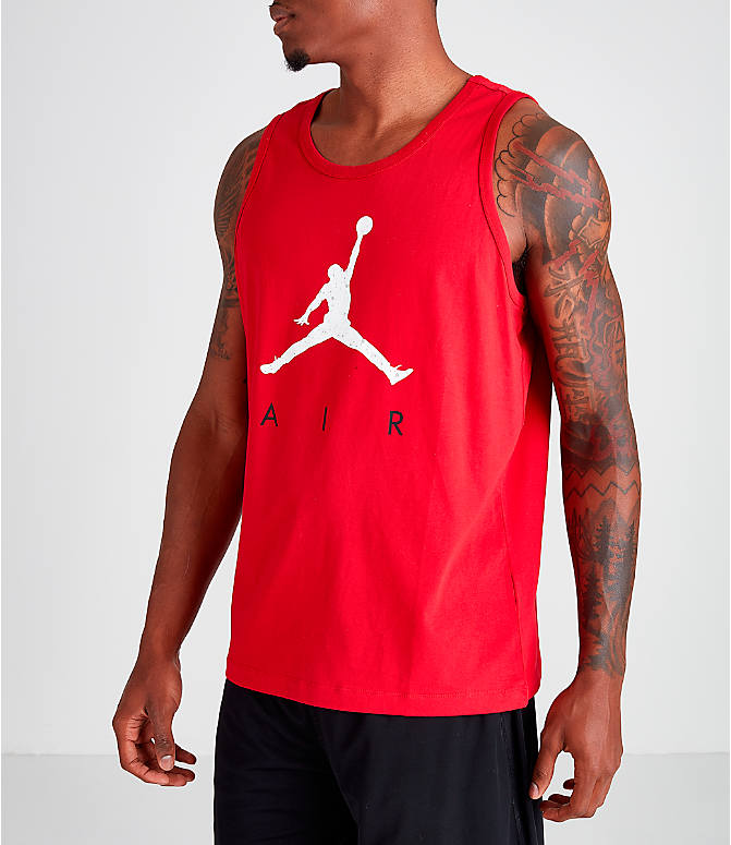 Front Three Quarter view of Men's Jordan Poolside Tank in Gym Red