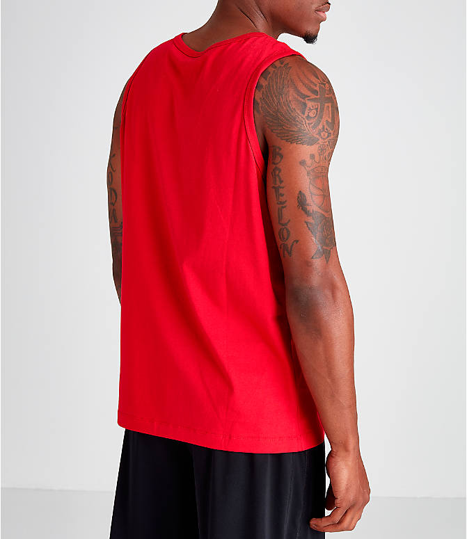 Back Right view of Men's Jordan Poolside Tank in Gym Red
