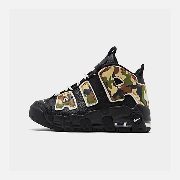 Right view of Boys' Little Kids' Nike Air More Uptempo QS Basketball Shoes in Black/Sail/Light British Tan/Asparagus