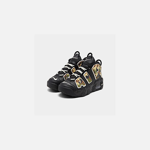 Three Quarter view of Boys' Little Kids' Nike Air More Uptempo QS Basketball Shoes in Black/Sail/Light British Tan/Asparagus
