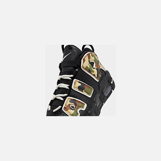Front view of Boys' Little Kids' Nike Air More Uptempo QS Basketball Shoes in Black/Sail/Light British Tan/Asparagus