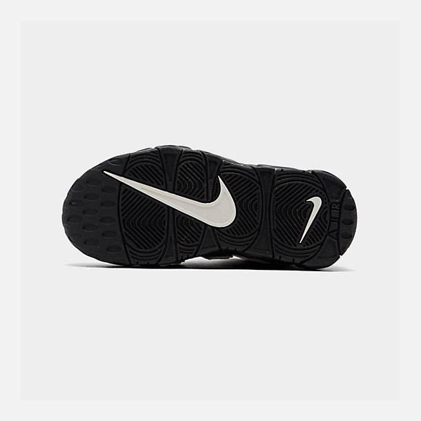 Bottom view of Boys' Little Kids' Nike Air More Uptempo QS Basketball Shoes in Black/Sail/Light British Tan/Asparagus