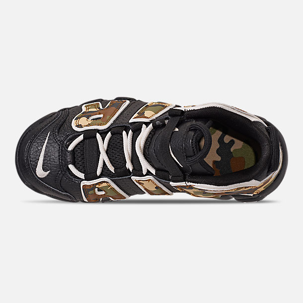Top view of Boys' Little Kids' Nike Air More Uptempo QS Basketball Shoes in Black/Sail/Light British Tan/Asparagus
