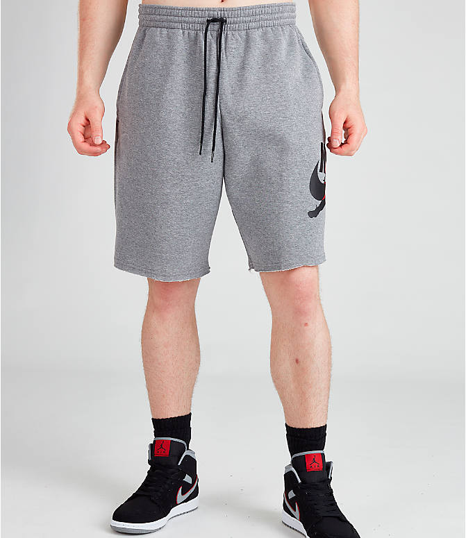 Front Three Quarter view of Men's Jordan Jumpman Classics Shorts in Carbon Heather/Black/Gym Red/Black