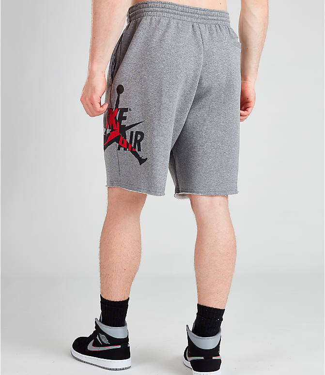 Back Left view of Men's Jordan Jumpman Classics Shorts in Carbon Heather/Black/Gym Red/Black