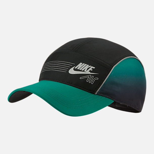 Front view of Nike Retrofuture AW84 Strapback Hat in Black/Mystic Green/Reflective Silver