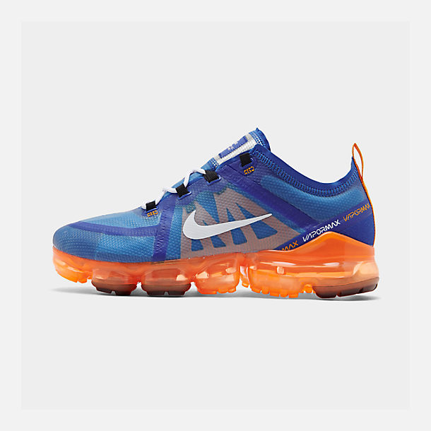 Right view of Men's Nike Air VaporMax 2019 Running Shoes in Racer Blue/White/Orange Peel/Black
