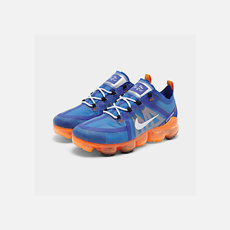 Three Quarter view of Men's Nike Air VaporMax 2019 Running Shoes in Racer Blue/White/Orange Peel/Black