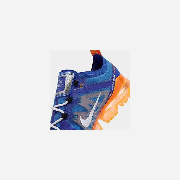 Front view of Men's Nike Air VaporMax 2019 Running Shoes in Racer Blue/White/Orange Peel/Black