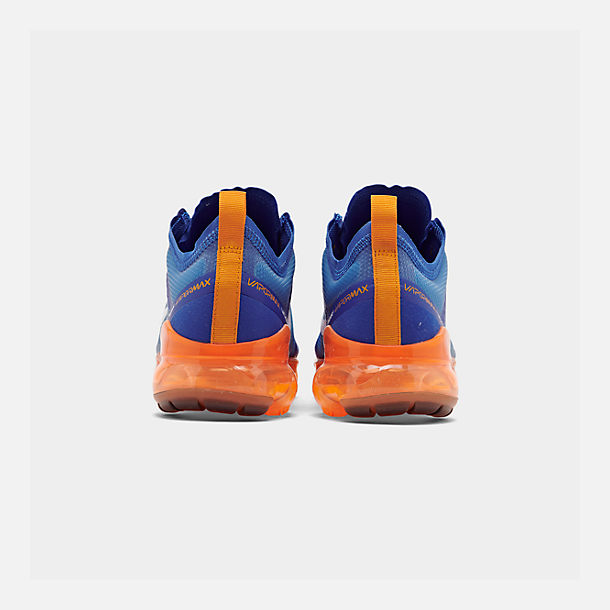 Left view of Men's Nike Air VaporMax 2019 Running Shoes in Racer Blue/White/Orange Peel/Black