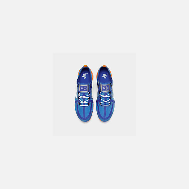 Back view of Men's Nike Air VaporMax 2019 Running Shoes in Racer Blue/White/Orange Peel/Black