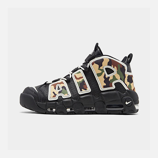 Right view of Men's Nike Air More Uptempo '96 Basketball Shoes in Black/Sail/Light British Tan Asparagus