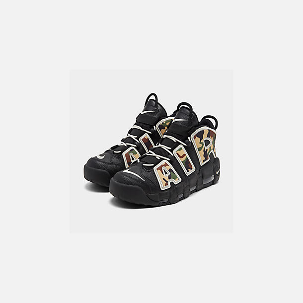 Three Quarter view of Men's Nike Air More Uptempo '96 Basketball Shoes in Black/Sail/Light British Tan Asparagus