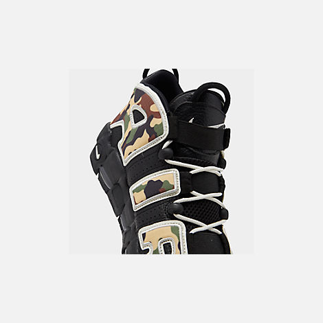 Front view of Men's Nike Air More Uptempo '96 Basketball Shoes in Black/Sail/Light British Tan Asparagus