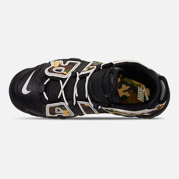 Top view of Men's Nike Air More Uptempo '96 Basketball Shoes in Black/Sail/Light British Tan Asparagus