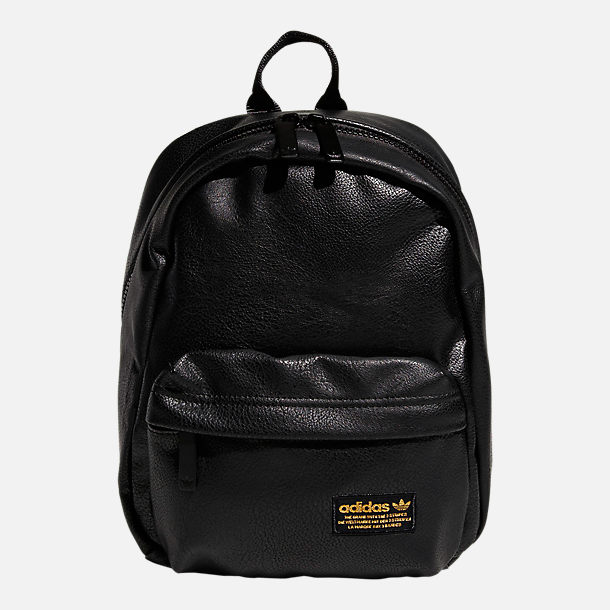 Front view of adidas Originals Compact Premium Mini Backpack in Black PU Leather
