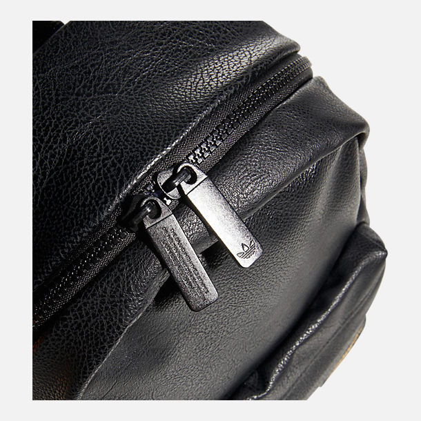 Back view of adidas Originals Compact Premium Mini Backpack in Black PU Leather