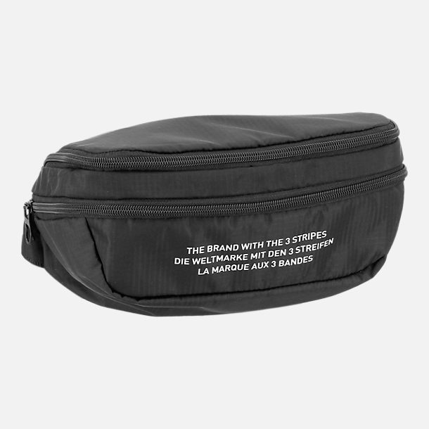 Front view of adidas Originals Packable Two-Way Bag in Black/White