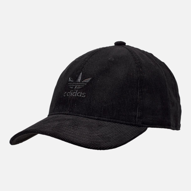 Front view of adidas Originals Relaxed Corduroy Adjustable Back Hat in Black