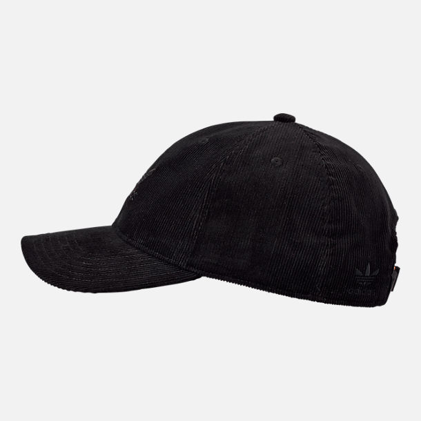 Back view of adidas Originals Relaxed Corduroy Adjustable Back Hat in Black