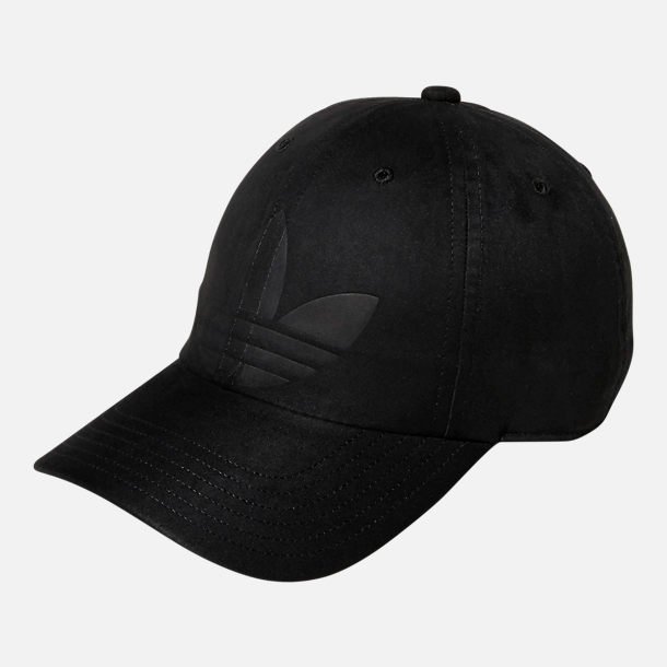 Front view of Women's adidas Originals Debossed Relaxed Strapback Hat in Black