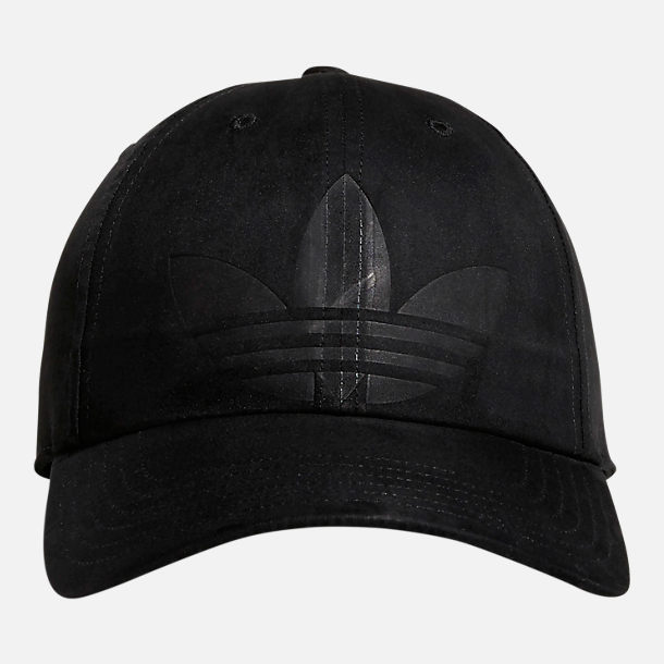Back view of Women's adidas Originals Debossed Relaxed Strapback Hat in Black