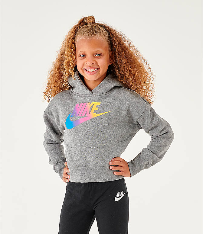 Front view of Girls' Nike Sportswear Cropped Hoodie in Carbon Heather/White