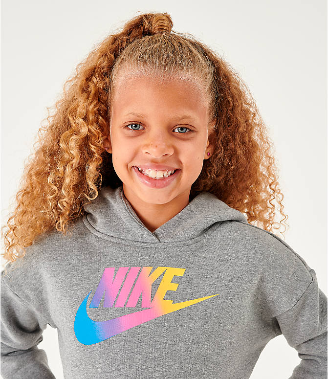 Back Right view of Girls' Nike Sportswear Cropped Hoodie in Carbon Heather/White