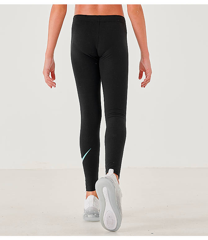 Back Left view of Girls' Nike Sportswear Gradient Leggings in Black/White