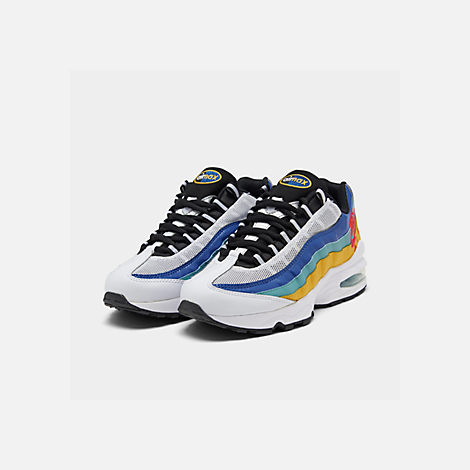Three Quarter view of Big Kids' Nike Air Max 95 SE Casual Shoes in White/Red Orbit/University Gold