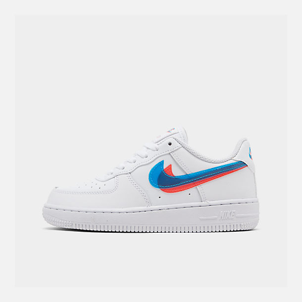 Right view of Little Kids' Nike Air Force 1 LV8 Casual Shoes in White/Blue Hero/Bright Crimson