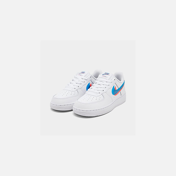 Three Quarter view of Little Kids' Nike Air Force 1 LV8 Casual Shoes in White/Blue Hero/Bright Crimson