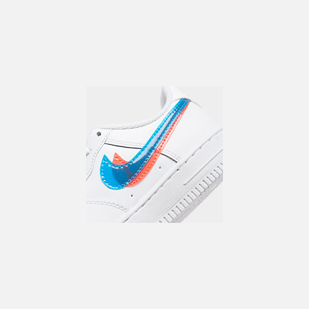 Front view of Little Kids' Nike Air Force 1 LV8 Casual Shoes in White/Blue Hero/Bright Crimson