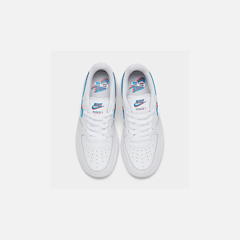 Back view of Little Kids' Nike Air Force 1 LV8 Casual Shoes in White/Blue Hero/Bright Crimson