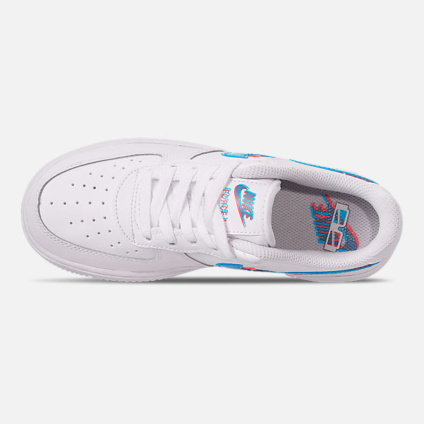 Top view of Little Kids' Nike Air Force 1 LV8 Casual Shoes in White/Blue Hero/Bright Crimson
