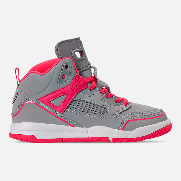 Right view of Girls' Little Kids' Jordan Spizike Basketball Shoes in Wolf Grey/Racer Pink/White