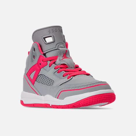 Three Quarter view of Girls' Little Kids' Jordan Spizike Basketball Shoes in Wolf Grey/Racer Pink/White