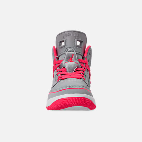 Front view of Girls' Little Kids' Jordan Spizike Basketball Shoes in Wolf Grey/Racer Pink/White