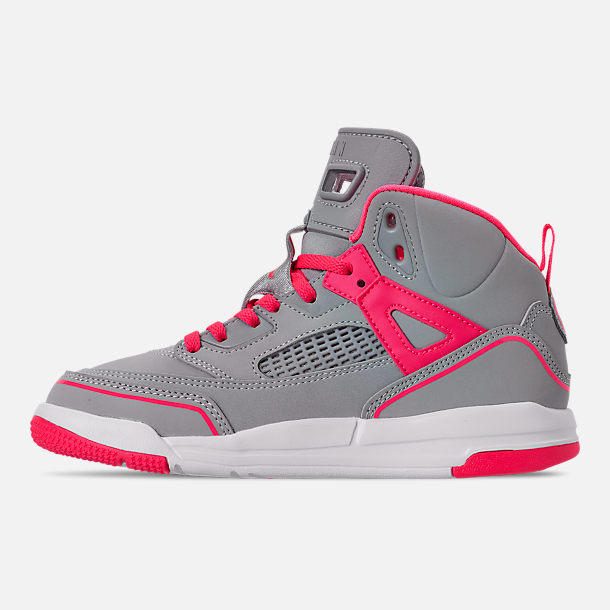 Left view of Girls' Little Kids' Jordan Spizike Basketball Shoes in Wolf Grey/Racer Pink/White