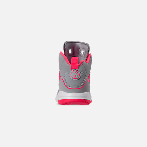 Back view of Girls' Little Kids' Jordan Spizike Basketball Shoes in Wolf Grey/Racer Pink/White